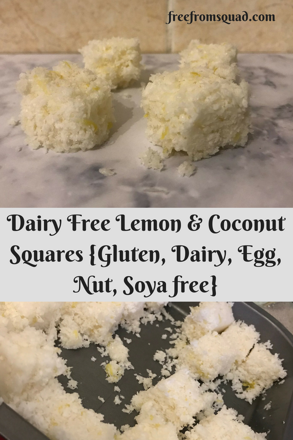 Dairy Free Lemon & Coconut Squares {Gluten, Dairy, Egg, Nut, Soya & Refined Sugar-free}
