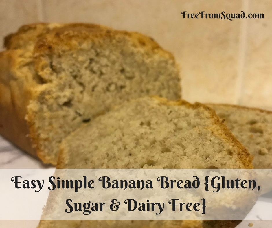 Easy Simple Banana Bread {Gluten, Sugar & Dairy Free}